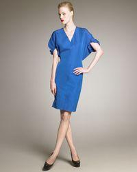 Saint Laurent | Blue Kimono-Sleeve Taffeta Dress | Lyst