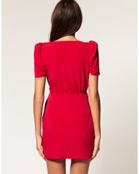 ASOS Collection - Red Asos Wrap Dress with Ruched Front - Lyst