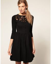 ASOS Collection - Black Asos Dress with Button Front and Lace Insert - Lyst