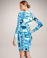 Emilio Pucci - Blue Printed Twist-front Dress - Lyst