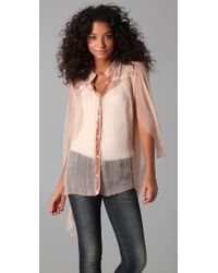Free People | Pink New Romantics Cape Blouse | Lyst