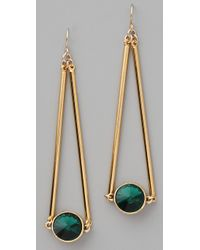 Gemma Redux - Green Siam Red Crystal Drop Earrings - Lyst