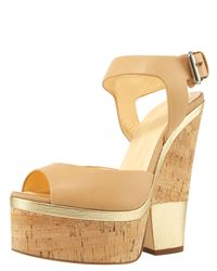 Giuseppe Zanotti | Natural Ankle-wrap Cork-wedge Sandal | Lyst