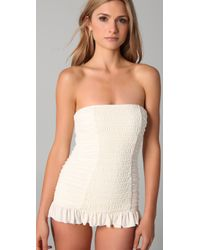 Juicy Couture   White Starlet Smocked Bandeau Swimdress   Lyst