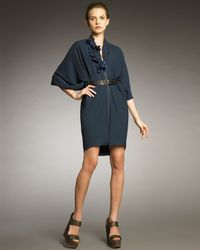 Lanvin | Blue Front-zip Cocoon Dress | Lyst