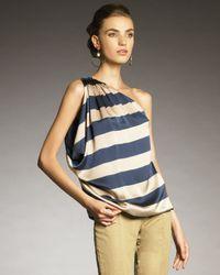 Lanvin | Blue One-shoulder Striped Top | Lyst