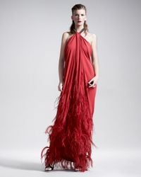Lanvin | Red Feather-applique Halter Gown | Lyst