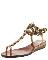 Lanvin | Brown Toe-ring Wedge Sandal | Lyst
