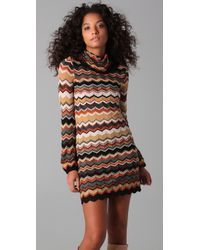 M Missoni - Green Turtleneck Sweater Dress - Lyst