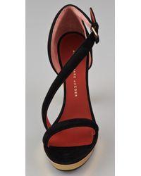 Marc By Marc Jacobs - Black Diagonal Strap Suede Platform Sandals - Lyst