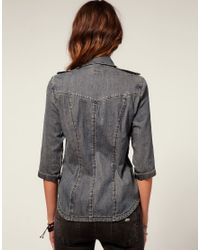 Miss Sixty - Blue Denim Shirt with Sequins - Lyst