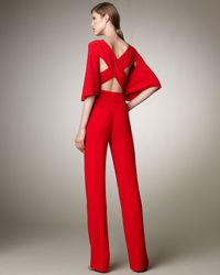 Valentino - Red Cross-back Cady Jumpsuit - Lyst