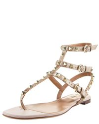 Valentino | Pink Rockstud Gladiator Sandal | Lyst