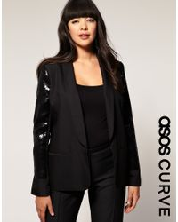 ASOS Collection | Black Asos Curve Jacket with Sequin Sleeve | Lyst