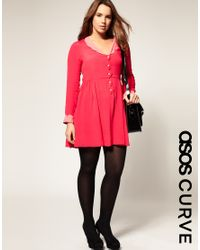 ASOS Collection - Pink Asos Curve Collar Dress with Scallop Detail - Lyst