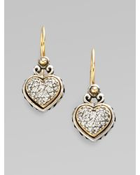Konstantino - Metallic Sterling Silver & 18k Gold Diamond Heart Earrings - Lyst