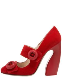 Prada | Red Suede Button Mary Jane Pump | Lyst