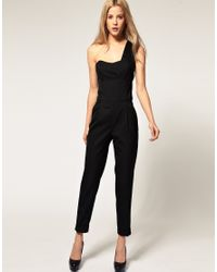 ASOS Collection | Black Asos Jumpsuit with One Shoulder Detail | Lyst