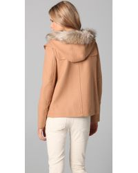 Juicy Couture | Natural Pom Pom Coat | Lyst