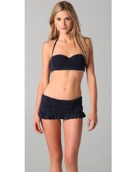 Juicy Couture | Black Starlet Smocked Skirted Bikini Bottoms | Lyst