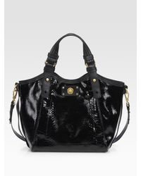 Marc By Marc Jacobs | Black Turnlock Python-embossed Leather Tote | Lyst