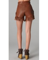 See By Chloé - Brown Preorder Leather Fringe Shorts - Lyst