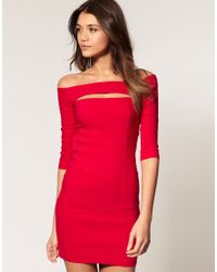 ASOS Collection | Red Asos Off Shoulder Dress with Cut Out | Lyst