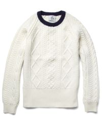 Black Fleece By Brooks Brothers | White Cable Knit Sweater for Men | Lyst