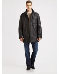 Cole Haan | Black Leather Car Coat for Men | Lyst