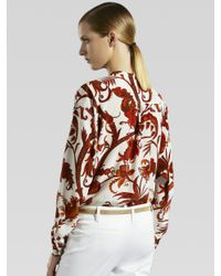Gucci - White Silk Guru Blouse - Lyst