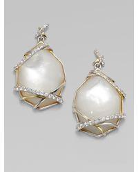 Kara Ross - Mother-of-pearl White Sapphire Drop Earrings - Lyst