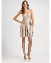Shoshanna | Strapless Silk Metallic Dress | Lyst
