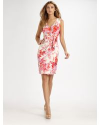 St. John - Multicolor Floral Silk Wrap Dress - Lyst