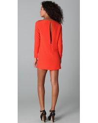 Tibi - Red Long Sleeve Shift Dress - Lyst