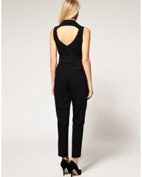 ASOS Collection | Black Asos Petite Exclusive Tuxedo Jumpsuit with Open Back | Lyst