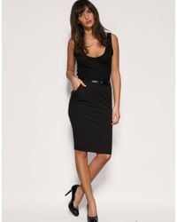 ASOS Collection | Black Asos Tailored Belted Ponti Pencil Skirt | Lyst