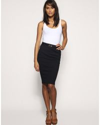 ASOS Collection - Blue Asos Tailored Belted Ponti Pencil Skirt - Lyst