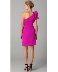 Lela Rose | Pink Folded One Shoulder Dress | Lyst