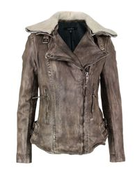 Muubaa | Gray Jadene Army Grey Leather Biker Jacket | Lyst