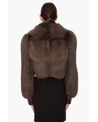 Givenchy - Brown Fox Fur Jacket - Lyst