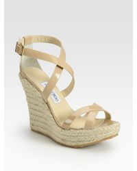 Jimmy Choo - Natural Porto Patent Leather Espadrille Wedge Sandals - Lyst