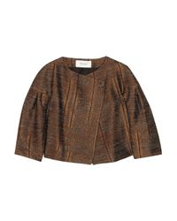 Pringle of Scotland | Brown Textured Satin-twill Jacket | Lyst