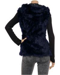 SuperTrash - Black Hooded Faux Fur Vest - Lyst