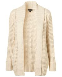 TOPSHOP - Natural Knitted Waffle Stitch Cardi - Lyst