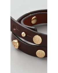 Tory Burch - Black Double Wrap Logo Bracelet - Lyst