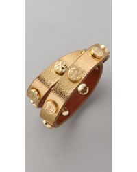 Tory Burch | Metallic Double Wrap Logo Bracelet | Lyst
