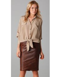 Kelly Bergin | Natural Silk Crepe De Chine Tie-front Shirt | Lyst