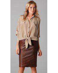 Kelly Bergin | Natural Silk Crepe De Chine Tie-front Shirt | Lyst