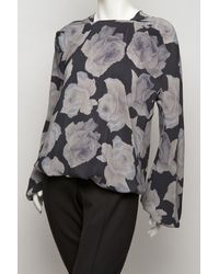 Lanvin | Black Rose Print Zip Back Blouse | Lyst