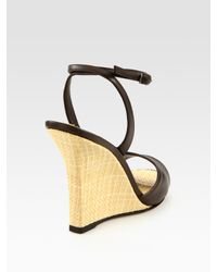 Manolo Blahnik | Brown Straw Tweed and Leather Sculpted-wedge Sandals | Lyst